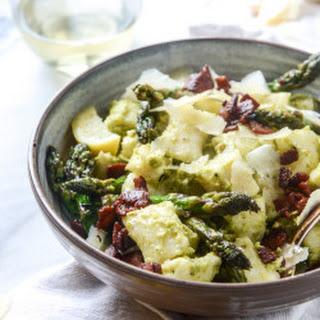 Homemade Ricotta Gnocchi with Asparagus Pesto.
