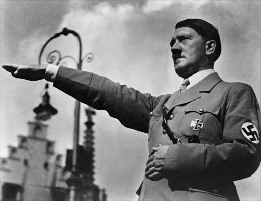 1934, Nuremberg, Germany --- Adolf  Hitler  Saluting.