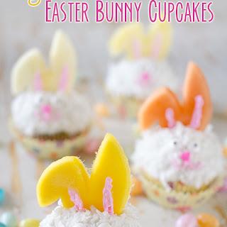 Light Coconut Cream Easter Bunny Cupcakes.