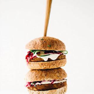 Vegan Power Burger with Beet Slaw + Horseradish Sauce.