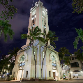 Aloha Tower at Night by Aaron Gould - Buildings & Architecture Public & Historical ( tower, night, hawaii )