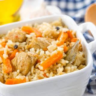 Baked Chicken, Mushroom, and Carrot Rice Casserole.