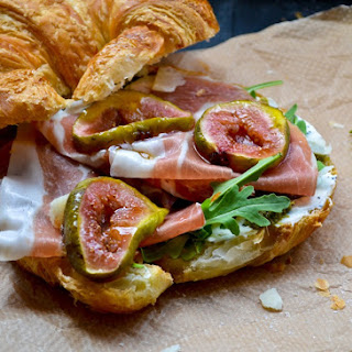 Croissants with Honey-Roasted Figs, Prosciutto and Poppy-Seed Cream Cheese