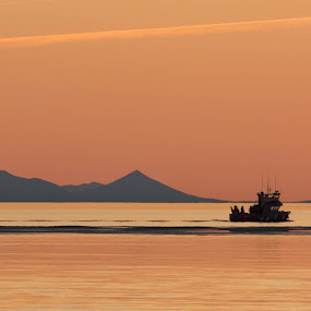 Bristol Bay Gillnetter at sunset by Gusty Stambaugh - Landscapes Sunsets & Sunrises ( bristol bay, sunset, alaska, nushagak, fishing )
