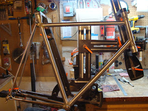Photo: Everything dry fit up in the fixture, if you look close you can see the tapered seat and down tube, somewhat Serotta-esque.