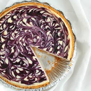 White Chocolate Blueberry Cheesecake.