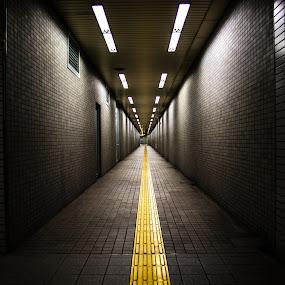 Subway hallway by Maya Bar - Transportation Other ( subway, hallway, underground, japan )