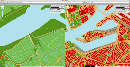 Photo: [2011 ©-project Mapping History van Museum Rotterdam en Maps+Motion] - http://www.museumrotterdam.nl en http://www.mapsplusmotion.com - click op laatstgenoemde site op 'Toon de kaarten' en stel de stad en de jaartallen in - op voorliggende foto staat de vergelijking tussen het Katendrecht van 1570 (zoals het er vele jaren nogal ongewijzigd bijlag - overigens was het gebied pas in 1460 weer geheel bedijkt) en 2000 - de bedoeling van Stichting Historisch Katendrecht is dat ook de andere voor Katendrecht belangrijke perioden zullen worden toegevoegd en zo mogelijk ook dat op perceelniveau informatie opgevraagd kan worden.