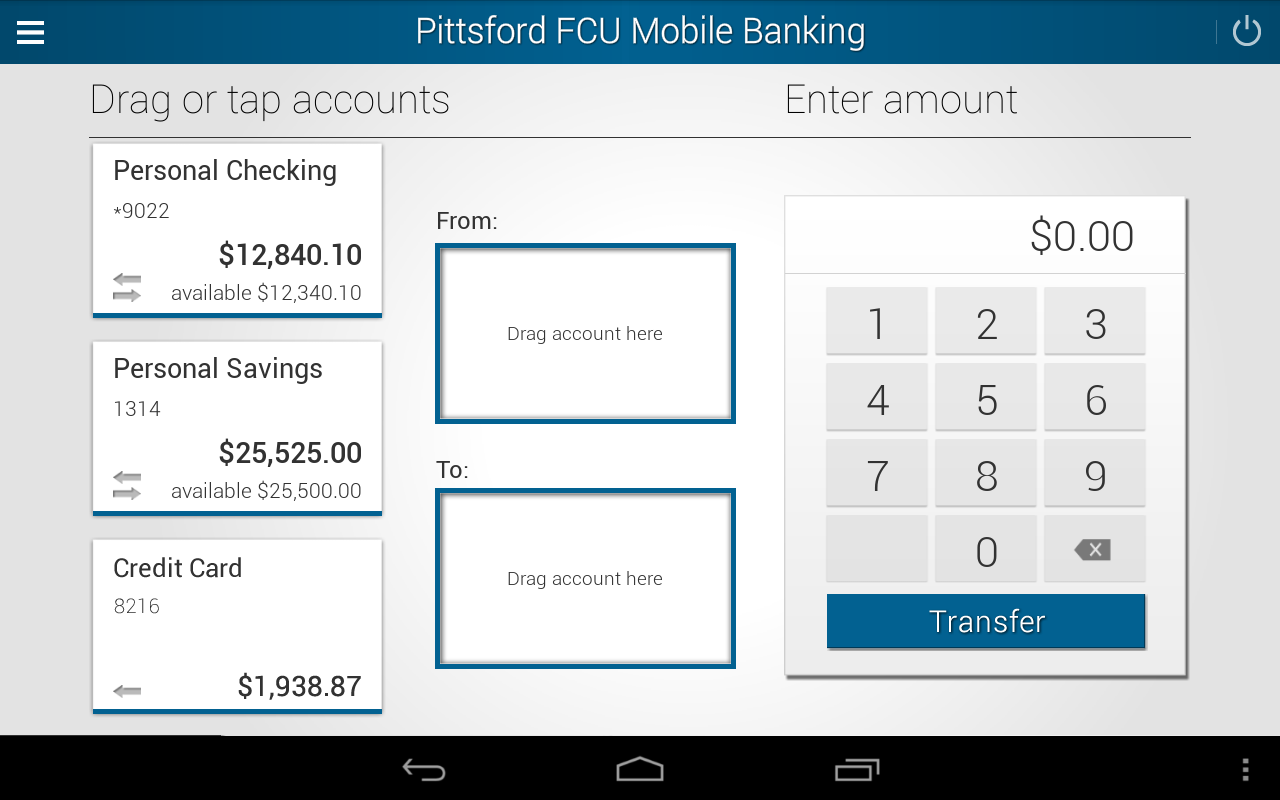 Pittsford FCU Mobile Banking - screenshot