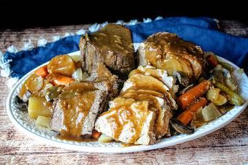 Slow Cooker Pork and Beef Roast