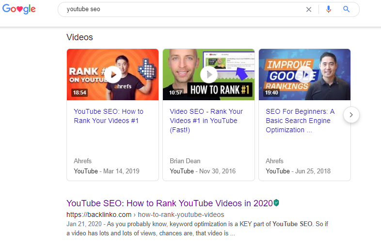 An image showing Google search results for youtube seo.