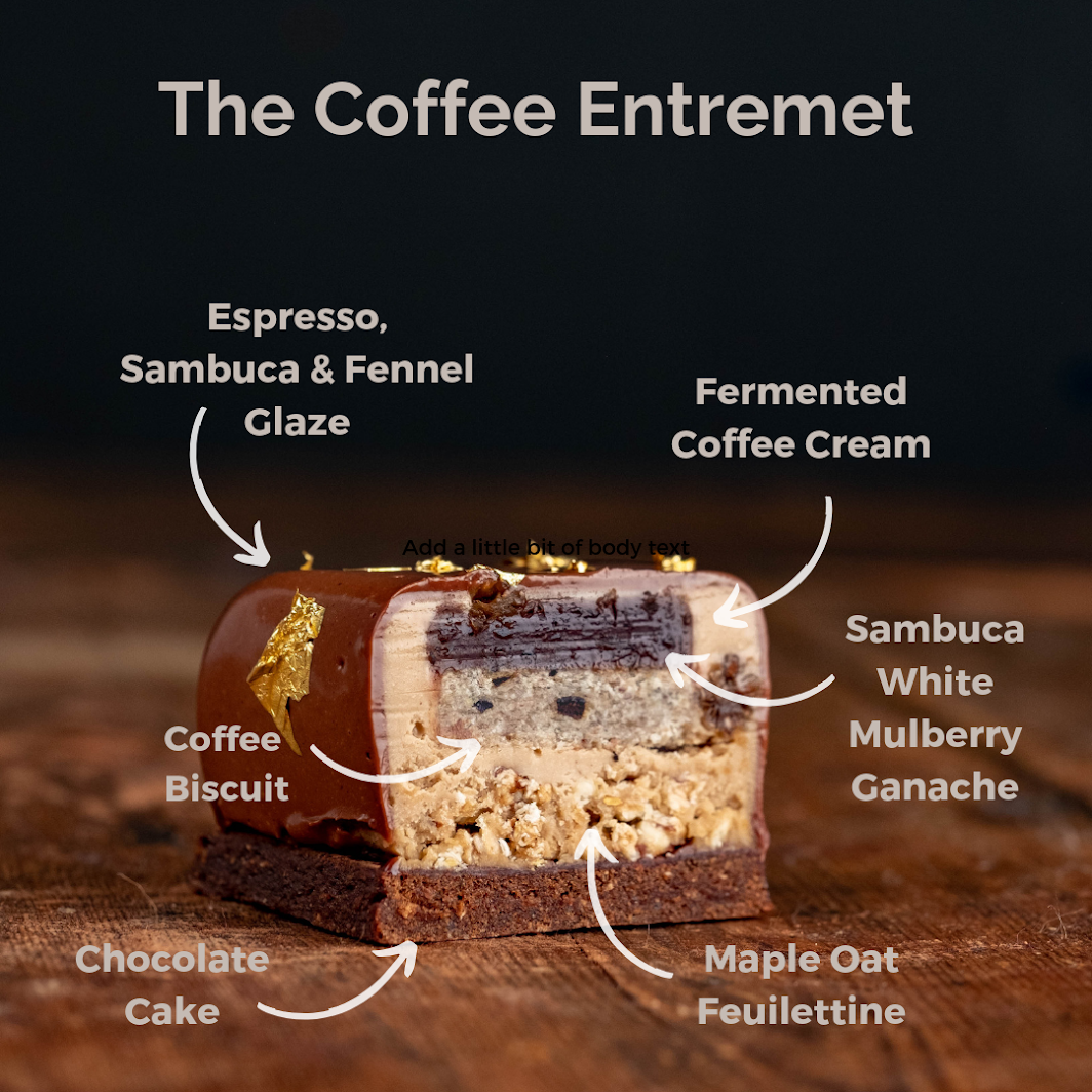 The Coffee Entremet on a wooden background