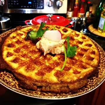 Kickin' Cornbread Waffle w/ Kickin' Philly Spread