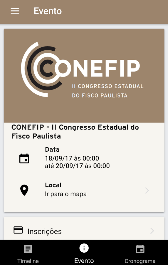 Conefip: captura de tela