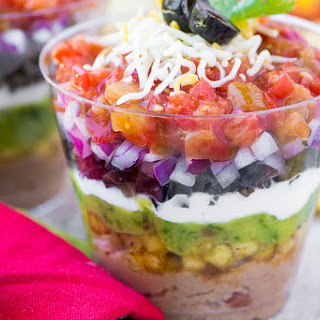 7 Layer Dip Appetizer Cups.