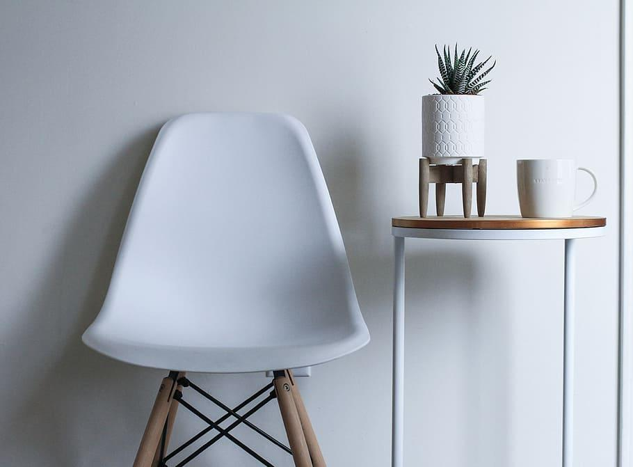 round, white, brown, wooden, table, chair, armless chair, metal | Piqsels