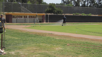 Photo: After infield material all set time to soak it down, basepaths, home plate, infield skin
