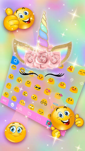 Screenshot for Rainbow Pink Rose Unicorn Keyboard Theme in United States Play Store