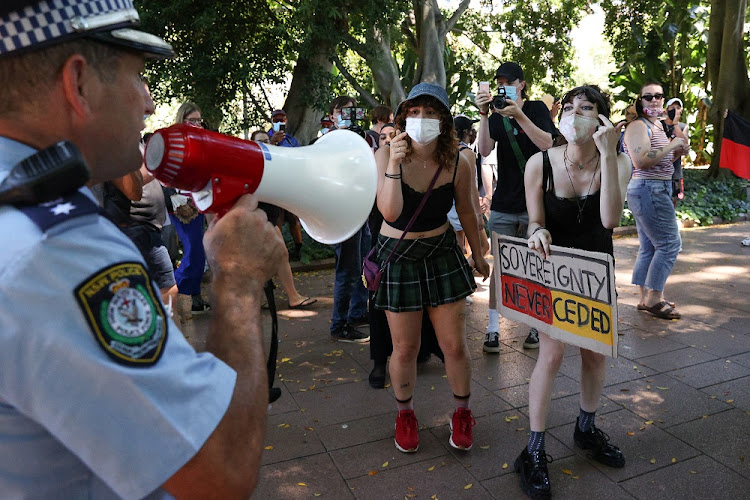Police clash with protesters on Australia Day demanding that the country's national day be changed, as the date marks the arrival of Britain's first fleet and subsequent colonisation of indigenous Australians, at a march in Sydney, Australia, January 26, 2021.