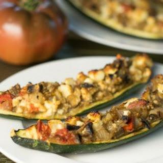 Feta and Mushroom Stuffed Zucchini.