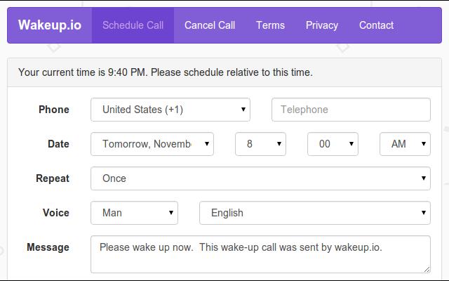 Wakeup.io - Free Online Wake-up Call Service