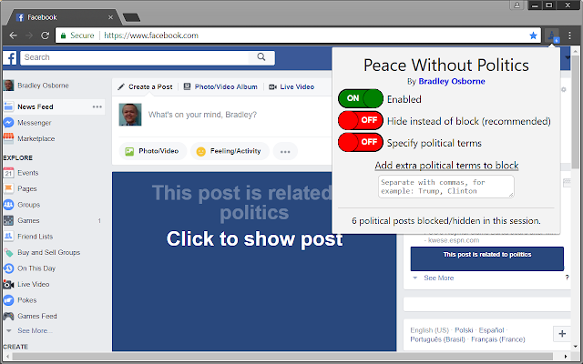 Peace Without Politics for Facebook