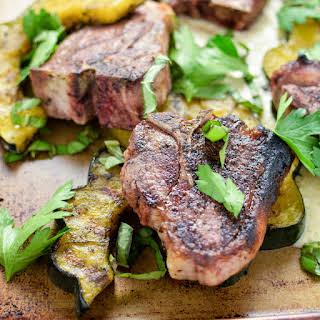 Pan-Seared Lamb Chops with Roasted Acorn Squash and Artichoke Puree.