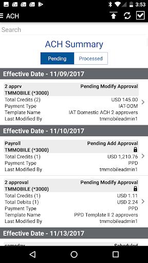 Comerica Treasury Mobile℠ App Report on Mobile Action - App