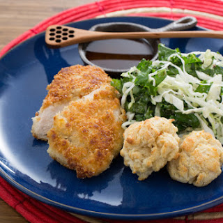 Crispy Fried Chicken with Kale-Cabbage Slaw & Buttermilk Biscuits