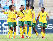 Linda Motlhalo of South Africa celebrates her goal during the Women's International Friendly match South Africa and Jamaica at Moses Mabhida Stadium on April 07, 2019 in Durban, South Africa.