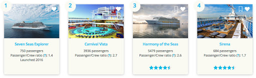 Try Cruiseable's Ship Discovery Tool to sort by Age, Size, Rating, Passenger to crew ratio & more.
