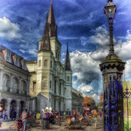 Opposite Side John  Jackson Square by Dave Walters - Digital Art Places ( new orleans, h d r, french quarter, jackson square, street scenes,  )