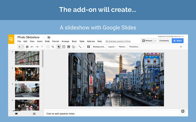 photo slideshow google slides add on