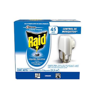 Insecticida RAID Líquido   Unidad Eléctrica Contra Zancudos 45N x1Und