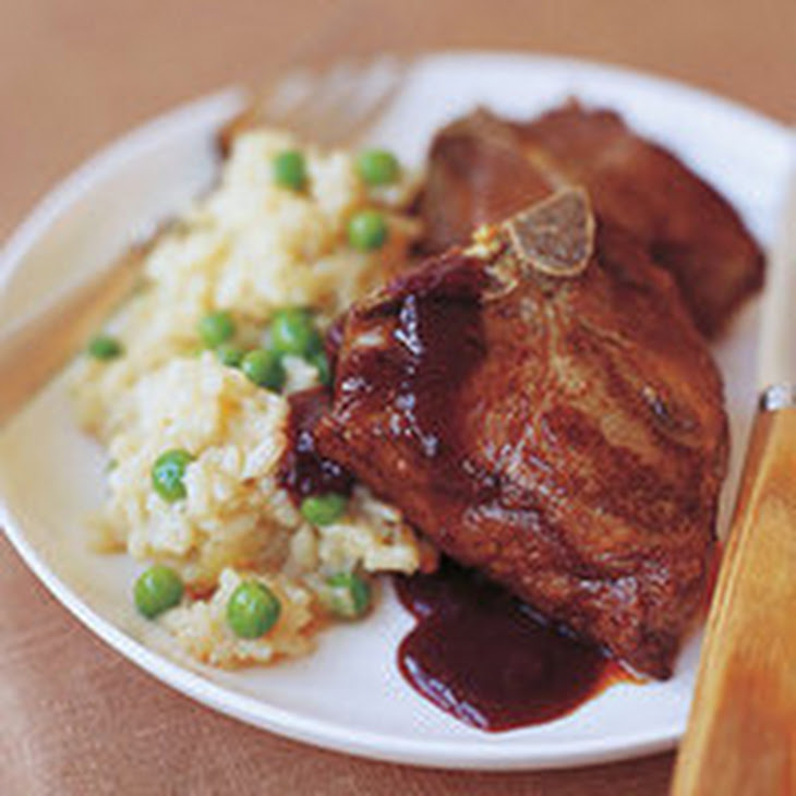 Black Cherry and Black Pepper Lamb Chops with Sweet Pea Risotto Recipe