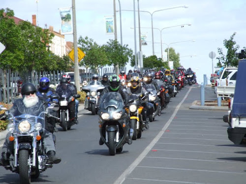 Ulysses Club members on their Odyssey last year. About 120 will ride into Narrabri on Friday for the weekend.