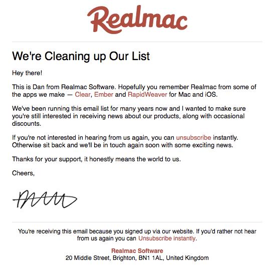 Realmac list cleanup