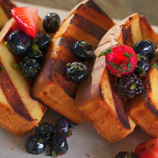 Grilled Pound Cake with Mixed Berry Salsa and Smoked Whipped Cream.