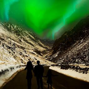 Aurora lights by Angel Weller - Landscapes Weather ( mountains, snow, aura, people, digital )