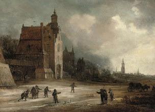 Photo: 17e-eeuwse soldaten spelen een kegelspel vóór (vermoedelijk) het toenmalige kasteeltje Den Emer in de Haagse Beemden. Goed herkenbaar zijn de Grote en de Markendaalse Kerk (aan de Haven).