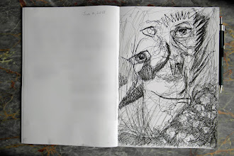 """Photo: Ink Sketch while reading Neil Gaiman's 'Ocean at the End of the Lane,' Brenda Clews, 2013, 8"""" x 10"""", India ink, in a Premium C.D. Japanese Notebook (the paper is like silk)."""