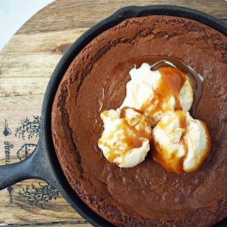 Gingerbread Skillet Cookie with Caramel Sauce.