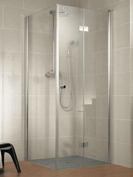 Porte de douche pivotante-pliante à combiner avec une paroi latérale
