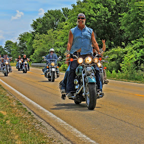 Standing in the Saddle by Ted Anderson - Transportation Motorcycles