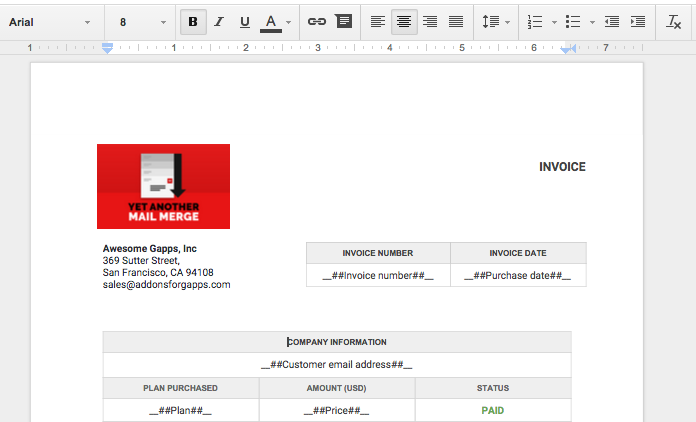 Managing invoices with Form Publisher, YAMM and Awesome