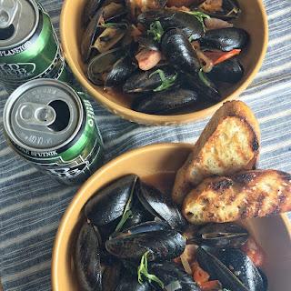 Garlicky Beer + Tarragon Steamed Mussels