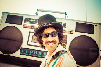Photo: This guy reminds me of all the super-friendly people I met in the desert.  I happened to get a shot of him right when a huge truck went behind him, decorated like a giant boom box.