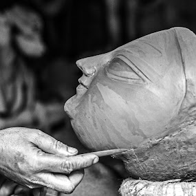 Towards Perfection by Aritra De - Black & White Objects & Still Life ( face, kolkata, durga, idol, soil, black and white, west bengal, india, kumartuli, durga puja, hand,  )