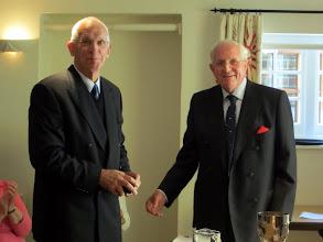 Photo: Stuart Martell retiring RC Finance receives Silver Medal from Bill Woodburn - Club President