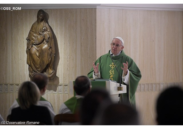 Pope Francis delivering his homily at Friday's Mass in the Santa Marta chapel - OSS_ROM